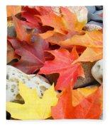 Autumn Leaves Art Print Coastal Fossil Rocks Baslee Troutman Fleece Blanket