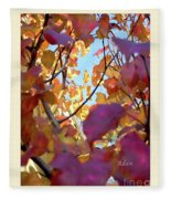 Autumn Leaves In Blue Sky Fleece Blanket