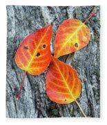 Autumn Leaves On Tree Bark Fleece Blanket