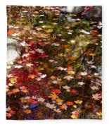 Autumn Leaves Reflections Fleece Blanket