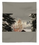 Autumn Leaves Winter Snow Fleece Blanket