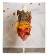 Autumn Mannequin With Falling Leaves Fleece Blanket