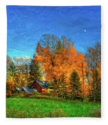 Autumn Moon Rising Fleece Blanket