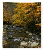 Autumn Mountain Stream Fleece Blanket
