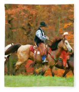 Autumn On Horseback Fleece Blanket