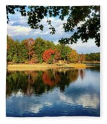 Autumn On The Lake  Fleece Blanket