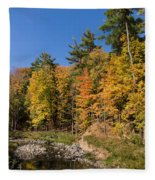 Autumn On The Riverbank - The Changing Forest Fleece Blanket