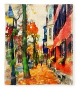 Autumn On The Streets Of Boston Fleece Blanket