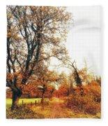 Autumn On White Fleece Blanket