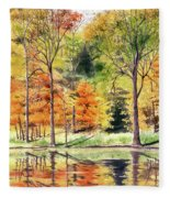 Autumn Oranges Fleece Blanket