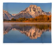 Autumn Oxbow Bend Reflections Fleece Blanket