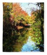 Autumn Park With Bridge Fleece Blanket
