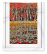 Autumn Pond And Lily Pads Poster Fleece Blanket