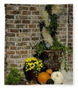 Autumn Porch Scene Fleece Blanket