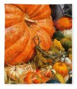 Autumn - Pumpkin - All Of My Relatives Fleece Blanket