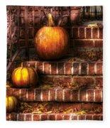 Autumn - Pumpkin - Three Pumpkins Fleece Blanket