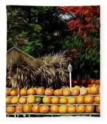 Autumn Pumpkins And Cornstalks Graphic Effect Fleece Blanket