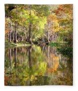 Autumn Reflection On Florida River Fleece Blanket