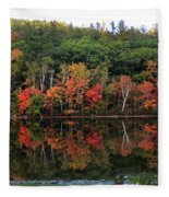 Autumn Reflections And Cabin On Baker Pond Fleece Blanket