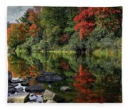 Autumn River Landscape Fleece Blanket