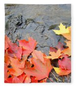 Autumn River Landscape Red Fall Leaves Fleece Blanket
