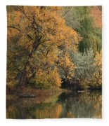 Autumn Riverbank Fleece Blanket