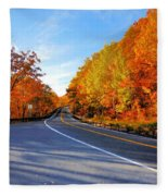 Autumn Scene With Road In Forest 2 Fleece Blanket