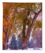 Autumn Snow Park Bench Peace Fleece Blanket
