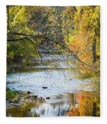 Autumn Stream Reflections Fleece Blanket