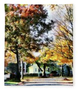 Autumn Street With Yellow House Fleece Blanket