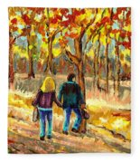 Autumn  Stroll On Mount Royal Fleece Blanket