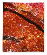 Autumn Tree Art Prints Orange Red Leaves Baslee Troutman Fleece Blanket