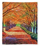Autumn Tree Lane Fleece Blanket