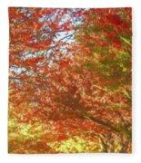 Autumn Trees Digital Watercolor Fleece Blanket