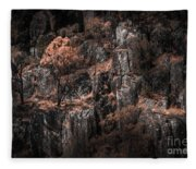 Autumn Trees Growing On Mountain Rocks Fleece Blanket