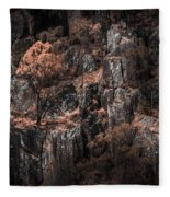 Autumn Trees Growing On Mountain Rocks Fleece Blanket