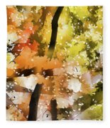 Autumn Trees In The Fog Fleece Blanket