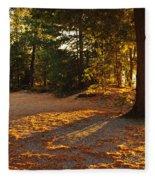 Autumn Trees Near Lake Fleece Blanket