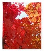 Autumn Trees Red Orange Fall Trees Art Baslee Troutman Fleece Blanket