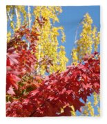 Autumn Trees Red Yellow Fall Tree Blue Sky Landsape Fleece Blanket
