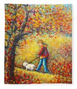 Autumn Walk  Fleece Blanket