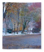 Autumn Winter Street Light Color Fleece Blanket