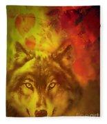 Autumn Wolf Fleece Blanket