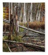 Autumn Woodland Marsh Scene Fleece Blanket