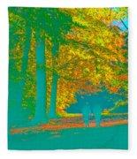 Autumn Woodland Walk Turquoise Fleece Blanket