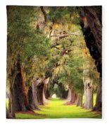Avenue Of Oaks Sea Island Golf Club St Simons Island Georgia Art Fleece Blanket