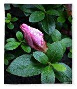 Awakening - Flower Bud In The Rain Fleece Blanket
