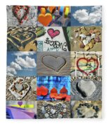 Awesome Hearts - Collage Fleece Blanket