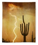 Az Saguaro Lightning Storm V Fleece Blanket