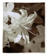 Azalea Flowers In Sepia Brown Fleece Blanket
